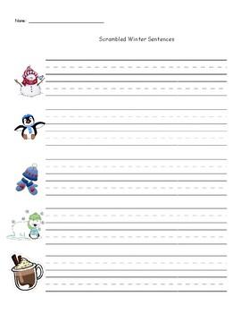 Winter Themed Scrambled Sentences - A Pocket Chart Activity