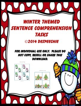 Winter Themed Sentence Comprehension Tasks