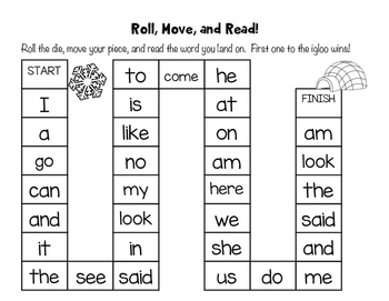 Winter Themed Sight Word Game