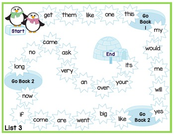 Sight Word Game Boards - Winter Themed - Dolch Sight Words