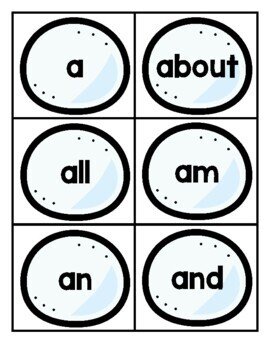 Winter Themed Sight Word Game for Fry 1st Hundred
