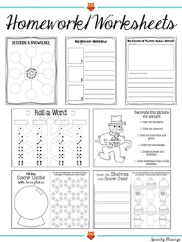 Winter Themed Speech and Language Packet
