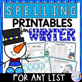 Word Work Spelling Practice Printables and Task Cards for Winter