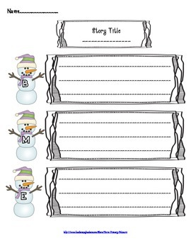 Winter Themed Story Elements Graphic Organizer