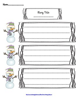 Winter Themed Story Elements Graphic Organizer Freebie