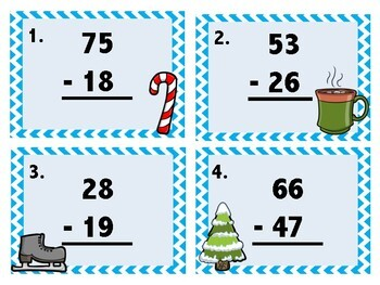 Winter Themed Subtraction With Regrouping Task Cards