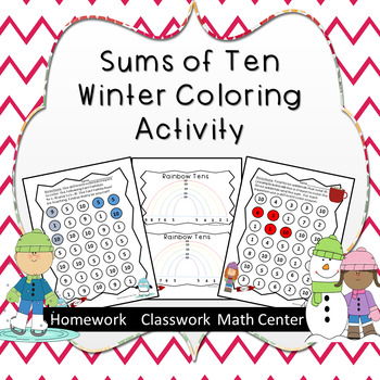 Winter Themed--Sums of 10 coloring activity--Secure fact families of 10.