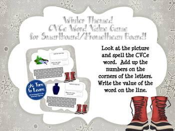 Winter CVCe/Super E Word Value Game for Smartboard or Promethean Board!