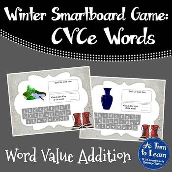 Winter CVCe/Super E Word Value Addition Game (Smartboard/Promethean Board)