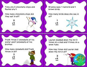 Winter-Themed Task Cards Single Digit Addition Facts 0-10