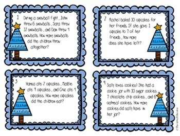 Math Task Cards - Winter - Word Problems, Place Value, Number Patterns, etc