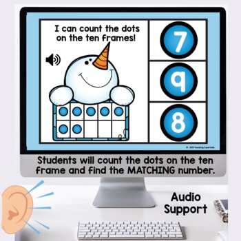 Winter Themed Ten Frame Digital Task Cards Boom