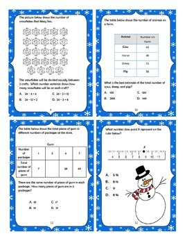 Winter Themed Third Grade STAAR Math Practice Task  Cards