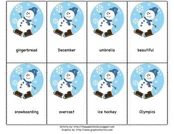 Winter Themed Three Syllable Words