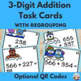 Winter Themed Triple Digit Addition With Regrouping Task Cards with QR Codes