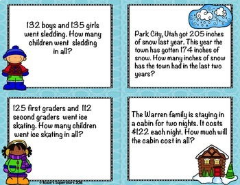 Winter Themed Triple Digit Addition No Regrouping with Optional QR Codes