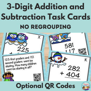 Winter Themed Triple Digit Addition No Regrouping with Opt