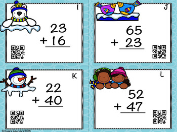 Winter Themed Double Digit Addition Without Regrouping Task Cards with QR Codes