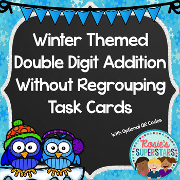 Winter Themed Double Digit Addition Without Regrouping Tas
