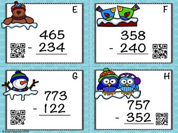 Winter Themed 3 Digit Subtraction Without Regrouping Task Cards with QR Codes