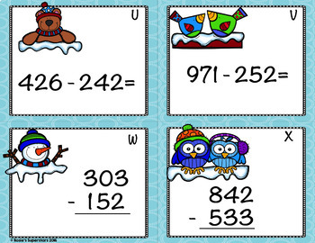 Winter Themed Triple Digit Subtraction With Regrouping Task Cards- QR Codes