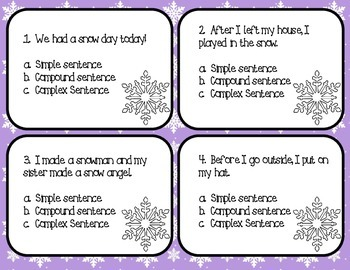 Winter Themed Types of Sentences Task Cards:  Simple, Compound, Complex
