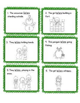 Winter Themed Verb Task Cards