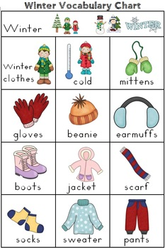 Winter Themed Vocabulary Cards with Game and Record Sheets