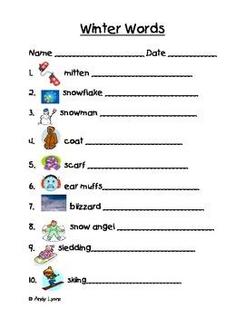 Winter Themed Vocabulary Words Handwriting