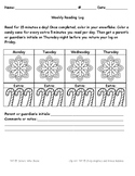 Winter Themed Weekly Reading Log for Primary - 15 Minutes a Day