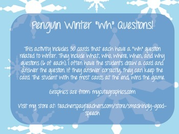 """Winter Themed """"Wh"""" Question Flash Cards"""