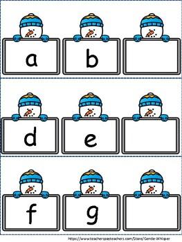 Winter Themed:  What's the Missing Letter Alphabet Literacy Center