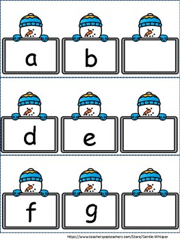 Winter Themed:  What's the Missing Letter Alphabet Literacy Center