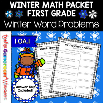 Winter Themed Word Problems - 1.OA.1, 1.OA.2