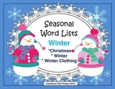 Winter Word Lists-Winter, Christmas, Winter Clothing