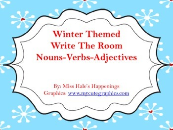 Winter Themed Write the Room Nouns, Verbs, and Adjectives