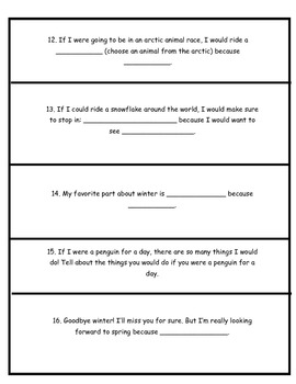Winter- Themed Writing Journal Prompts (Elementary)