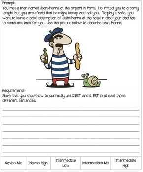 Winter Themed Writing Prompts for a French 4 (intermediate mid) Class