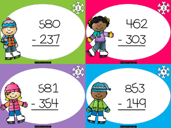 Winter Themed (ice skating kids) Subtraction With Regrouping Task Cards