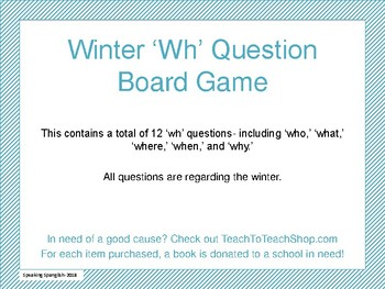 Winter Themed 'wh' Question Board Game