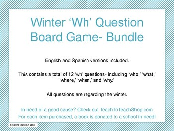 Winter Themed 'wh' Question Board Game- BUNDLE