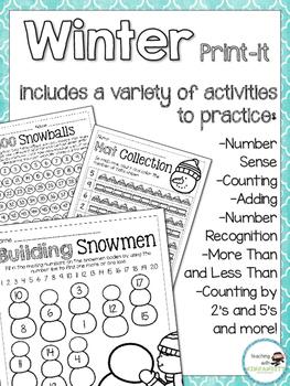 Winter Themed Math Print It