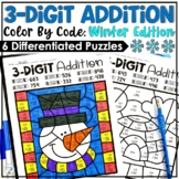 Winter Activities | Winter Color by Number 3 Digit Addition