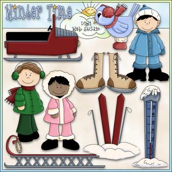 Winter Time Clip Art - Snowmobile, Sled, Skis, Kids Clip Art - CU Clip Art & B&W