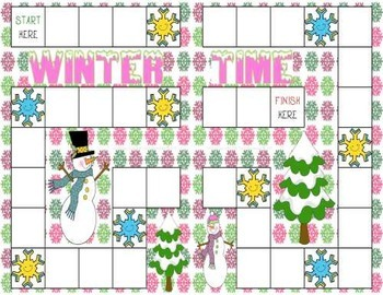 Winter Telling Time Game to 5 Minutes