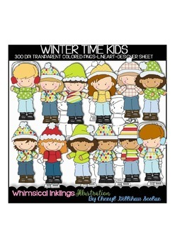 Winter Time Kids Clipart Collection