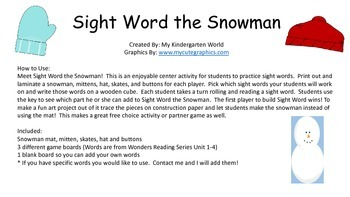 Winter Time Reading Center: Sight Word the Snowman