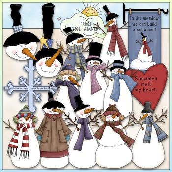 Winter Time Snowmen Clip Art - Snowman Clip Art - CU Clip Art & B&W