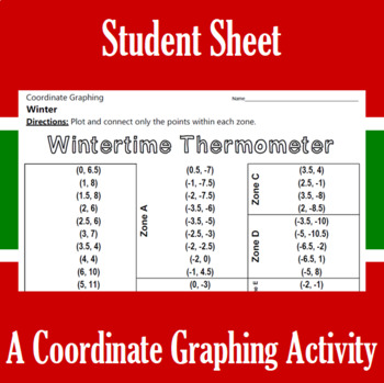Winter Time Thermometer - A Coordinate Graphing Activity