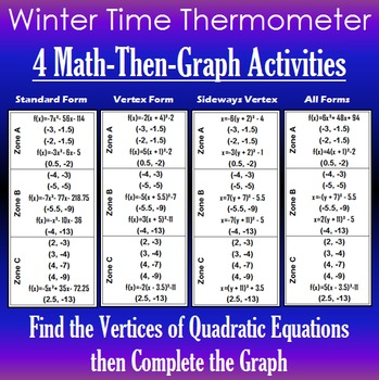 Winter Time Thermometer - Finding Vertices - 4 Math-Then-Graph Activities